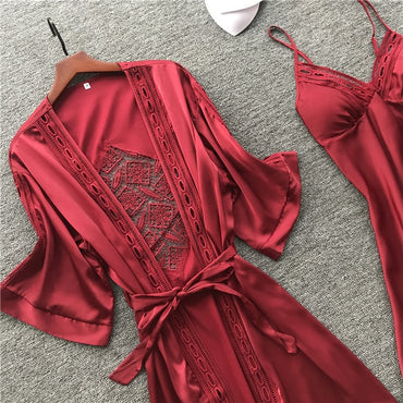 New Sexy Camisole Pajamas Robe Set