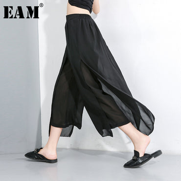 High Elastic Waist Loose Black Chiffon Split Joint Wide Leg Pants