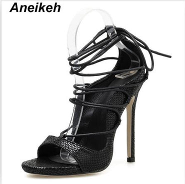Classic PVC  Ankle Strap Thin Super High Heels