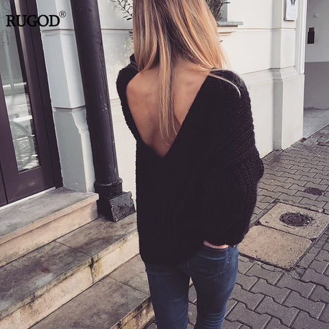 Sexy Backless V-neck Sweater