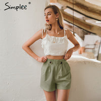 Middle waist cotton shorts
