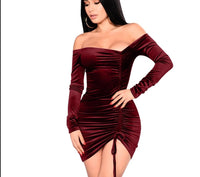 velvet sexy party asymmetrical ruching off shoulder dress