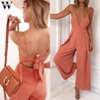 Fashion Causal V Neck Back Bow Jumpsuit