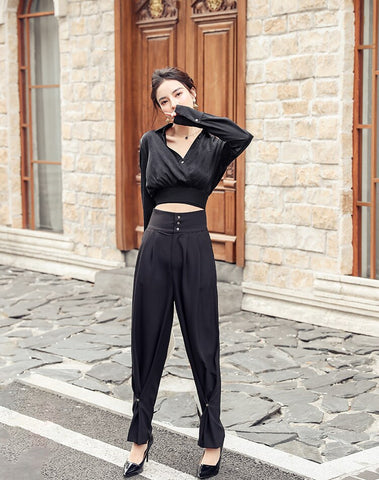 Casual loose High Waist chic black trousers