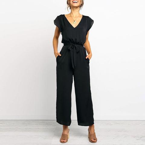 Fashion Short Sleeve V-Neck Solid Jumpsuits
