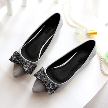 Soft Leather Flats Canvas Black Pointy Toe Shoes