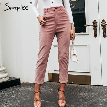 High waist Solid thin buttons trousers