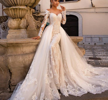 Sexy Sweetheart Long Sleeve Mermaid Wedding Dress