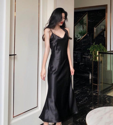 Long Satin Slip Dress