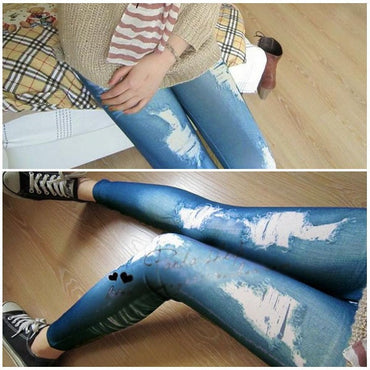 Retro Skinny Slim Distressed Stretchy Jeans Leggings