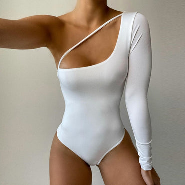 Sexy Solid White Red Bodysuits