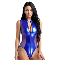 Shiny Patent Leather Sheer Mesh Sexy Bodysuit