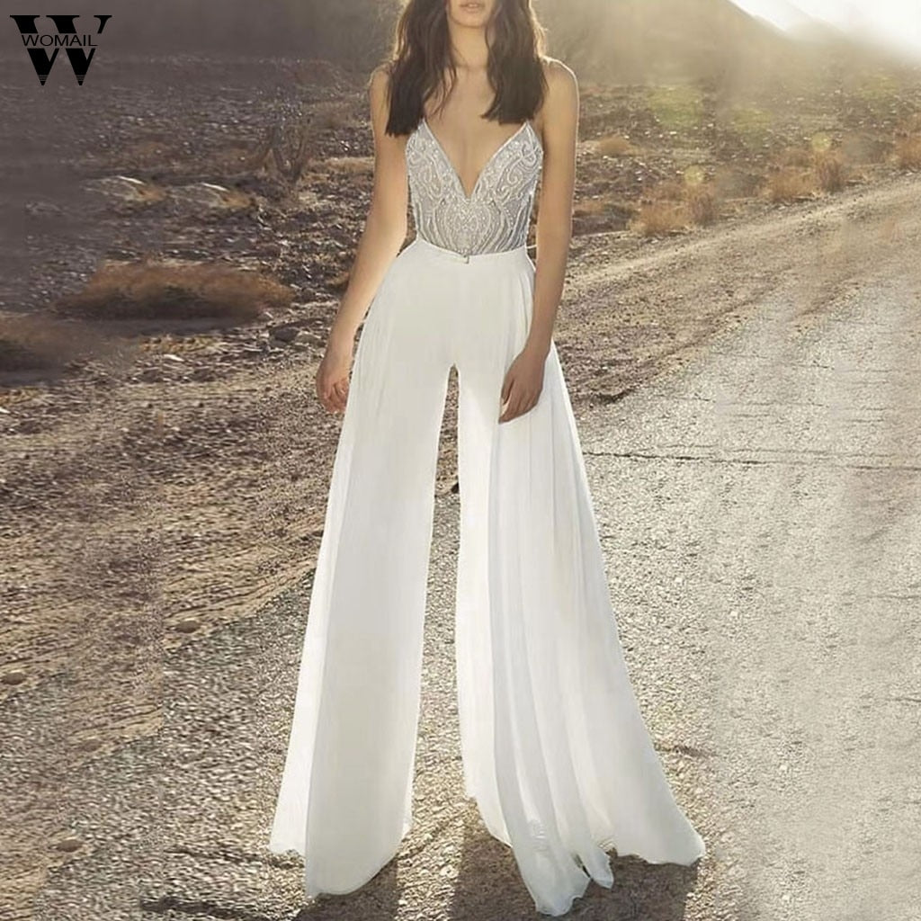 Spaghetti Strap Sequin Backless Jumpsuit