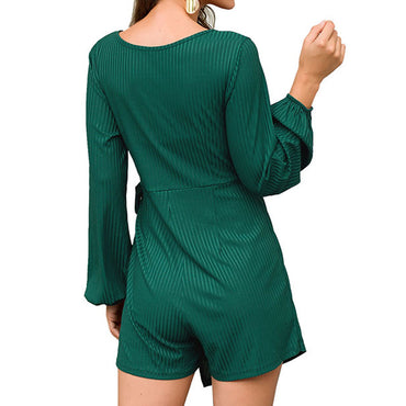Casual Long Sleeve Wrap V Neck Rompers