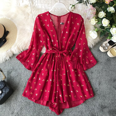 Fashion Cherry Print Rompers