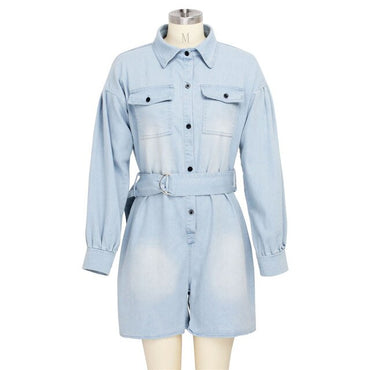 Fashion Short Denim With Belt Rompers