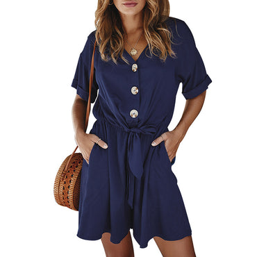 Solid Buttons Lace Up Rompers