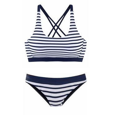 Striped Tankini Beach Two Piece Swimwear