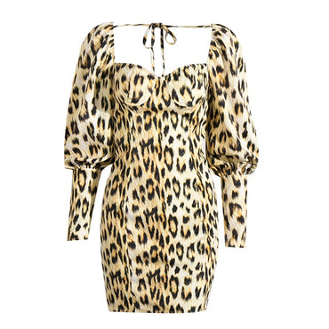 Elegant leopard puff sleeve party dress