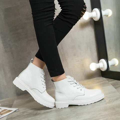 Genuine Leather white ankle Boots