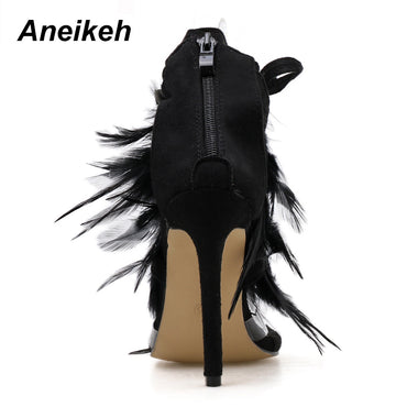 PVC Feather T-Straps HEELS