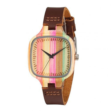 Multicolor Square Bamboo Dial Hypoallergenic Wood Watch