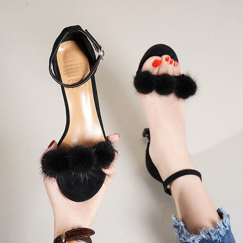 Thin Heeled A- line with Fur High Heel