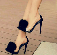 Transparent Rabbit Fur Pointed-Toe High Heel