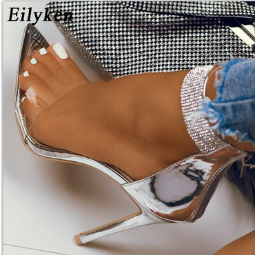 New Crystal Ankle Strap PVC Zipper Thin High Heels