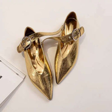 Gold Silver Patent Leather Buckle Lazy Shoes
