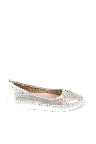 Bambi Silver Ballerina Shoes