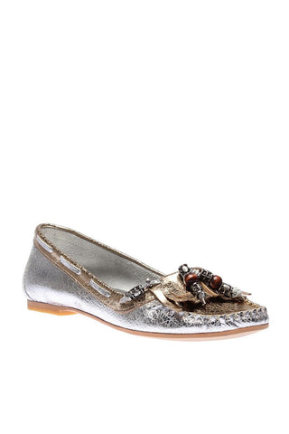 Pearl Genuine Leather Silver Shoes