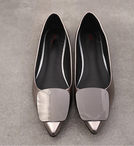 patent Leather loafers slip on work shoes