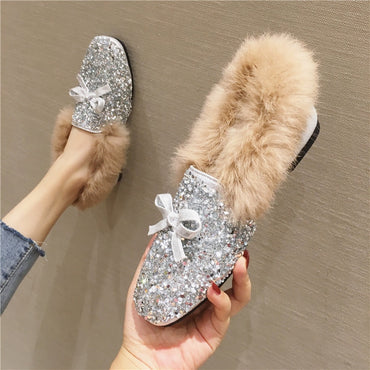 glitter fluffy flats crystal bowtie flat shoes
