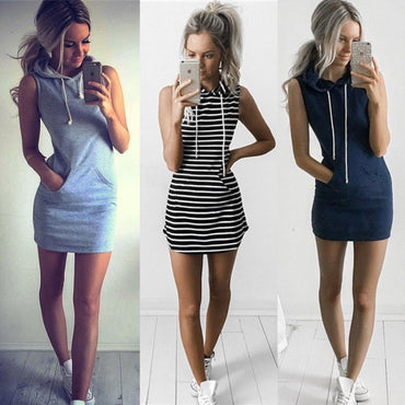 Casual Sweatshirt Sleeveless Mini Tank Dress