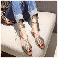 Fashion Narrow Band Flats Casual Gladiator Sandals