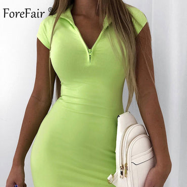 Neon Zip Short Sleeve Bodycon Slim Dress