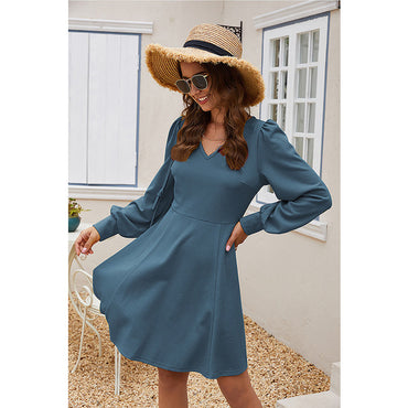 Solid Color Vintage Elegant V Neck Puff Sleeve A Line Dress