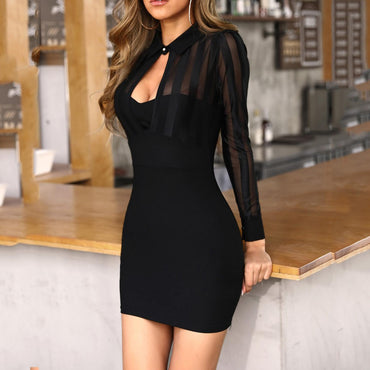 Long Sleeve Sheer Striped Mesh Patchwork Bodycon Office Dress
