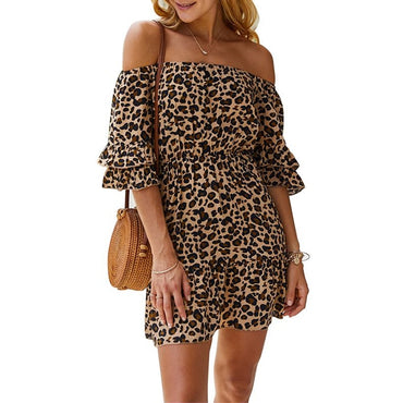 Sexy Off Shoulder Print Leopard Dress