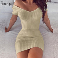 Off Shoulder Elegant V Neck Slim Knit Bodycon Dress