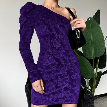 Sexy One-shoulder Puff Sleeve Party Dress