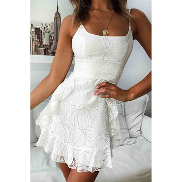 Elegant Lace Floral Print White Dress