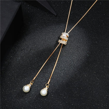 Tassel Rhinestone Crystal Pearl Long Chain Necklace