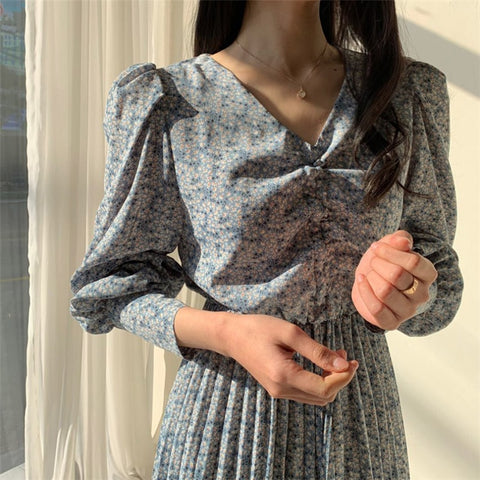 Elegant V-neck Long Sleeve Floral Print Pleated Dress