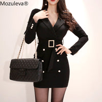 Elegant Turn-down Collar Sashes Double Breasted Dress