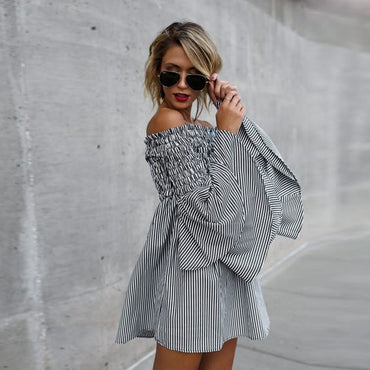 Off Shoulder Stripe Party Casual Dress