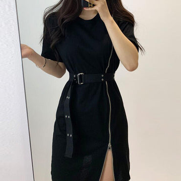 Korean Chic Retro Side Split Zipper Design Black Dress