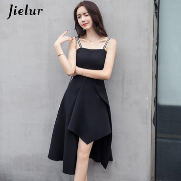 Irregular Sling Black Dress