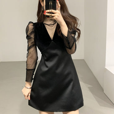 Fake two piece mesh dress